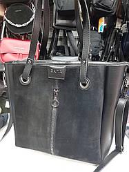 Стильная женская большая сумка со вставкой замша, искусственная кожа, три отдела, плечевой ремень