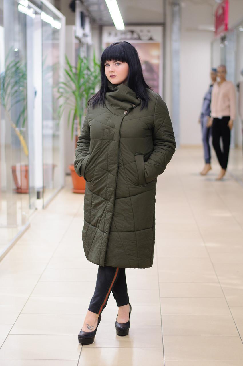 Стильное женское стеганное пальто  хаки  Elvi C83