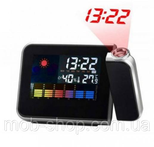 Часы метеостанция с проектором времени на стену Color Screen 8190 календарь