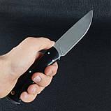 Нож фиксированный с черной рукояткой (длина: 24cm, лезвие: 11.5cm), кожаные ножны, фото 5