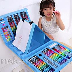 Художественный набор для творчества 208 предметов с мольбертом для детей в чемодане для рисования