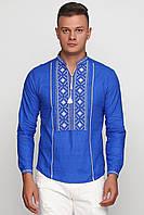 Вышитые рубашки для мужчин   Сорочки вышиванки мужские синие в интернет магазине ЕтноМодерн