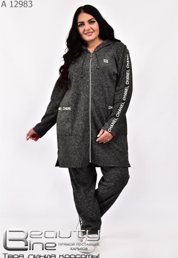 Теплый спортивный костюм женский на флисе в большом размере Minova Размеры: 52-54, 56-58