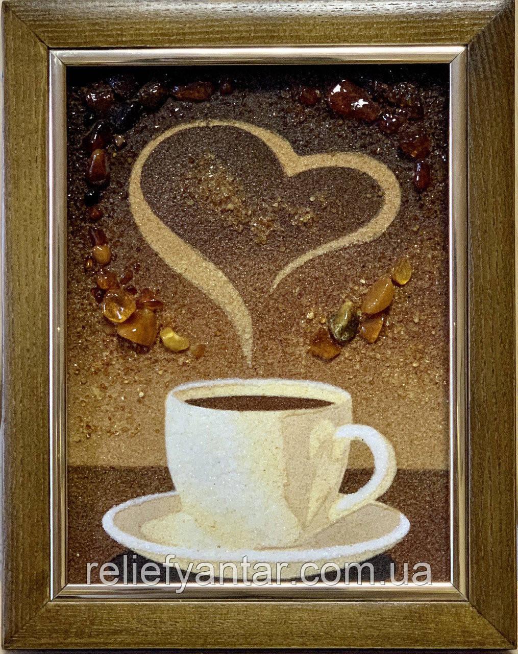 """Картина -  панно из янтаря """"Чашечка кофе"""", картина з бурштину Чашка кави 15x20 см"""