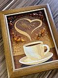 """Картина -  панно из янтаря """"Чашечка кофе"""", картина з бурштину Чашка кави 15x20 см, фото 2"""