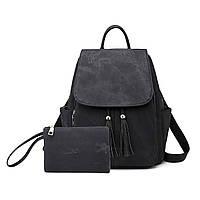 Комплект сумка рюкзак с косметичкой кожзам черная
