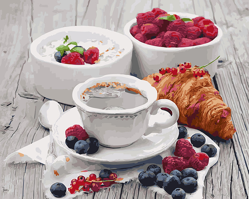 Картина по номерам 40х50см. gx5509 Ароматный завтрак Rainbow