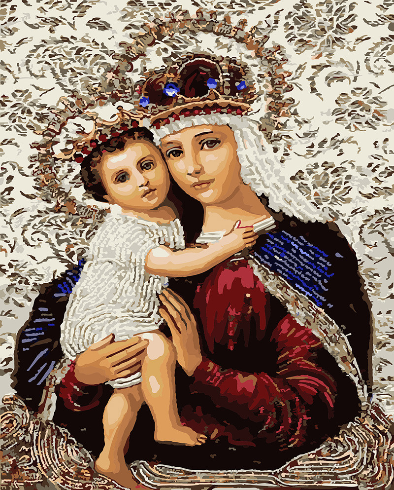 Картина по номерам 40х50см. gx3475 Икона Божией Матери Rainbow