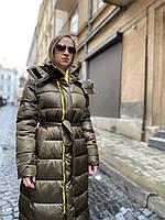 Куртка пальто пуховик зимняя длинная макси с капюшоном стеганная легкая теплая молодежная хаки стильная
