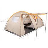 Палатка туристическая четырехместная КЕМПИНГ Tougether 4PE, бежевая (420х250х160/180см), фото 2