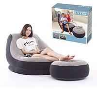 Надувной диван с пуфом Air Sofa / Надувное велюровое кресло с пуфиком