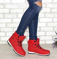 Красные женские ботинки на шнуровке, фото 1
