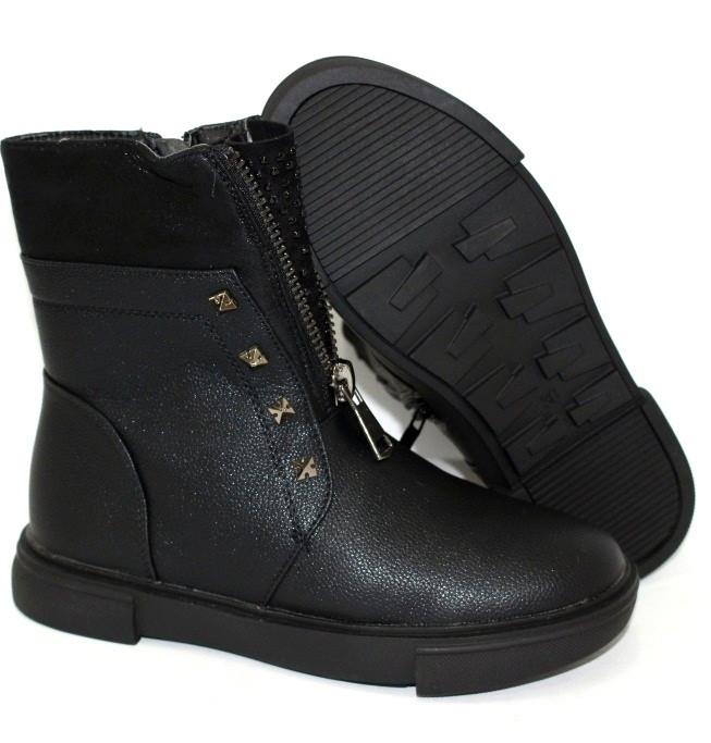 Зимние сапожки детские черного цвета для девочки подростка