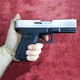 Пистолет сигнальный, стартовый Retay Glock G 17 (9мм, 14 зарядов), никель, фото 2