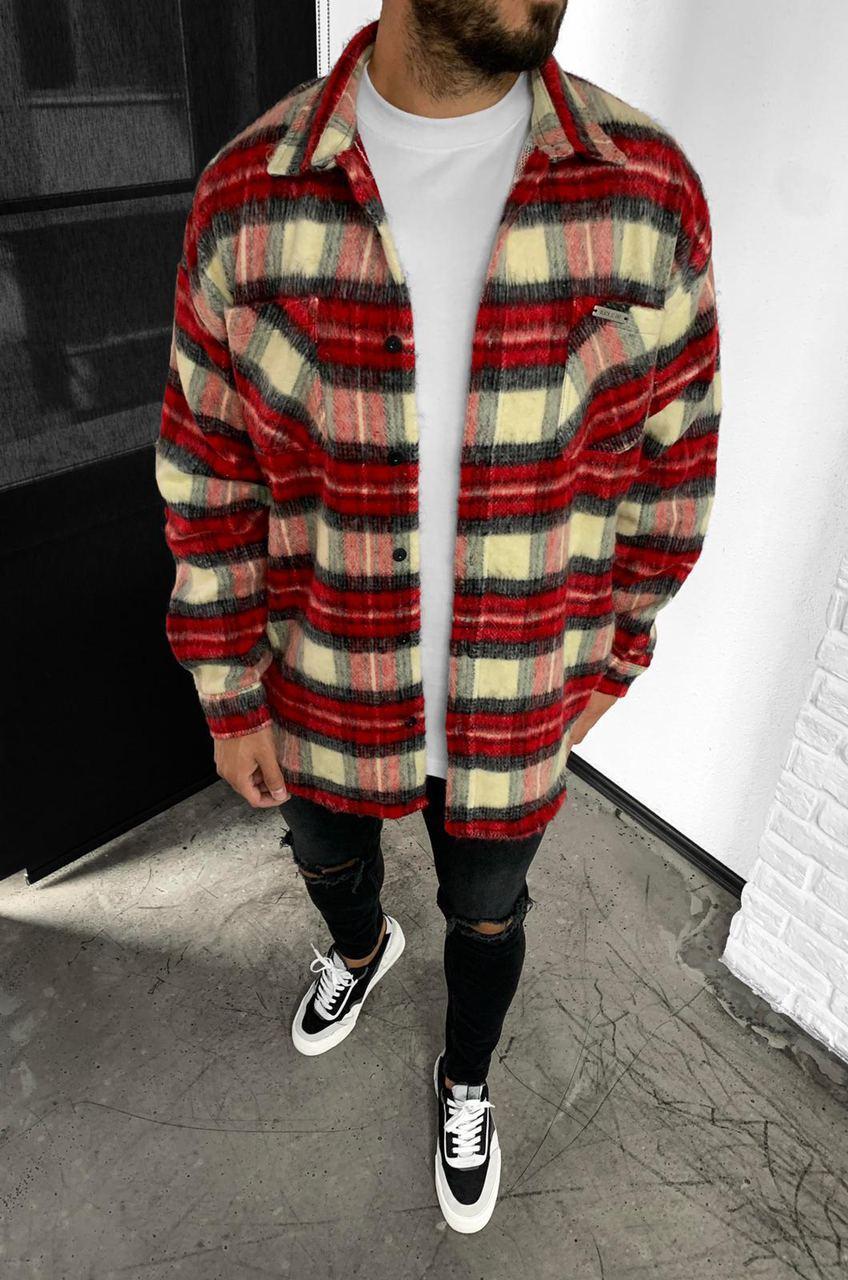 😜Рубашка - мужская теплая байковая рубашка красная (клетка)