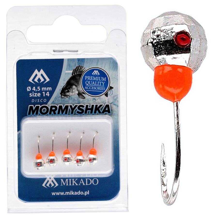Мормышка Mikado Шар с отверстием граненый 0,3гр серебро