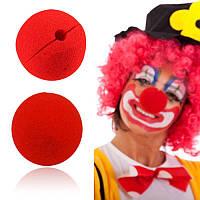 Клоунський ніс червоний поролоновий. Карнавальний ніс (СКЛАД-1шт)