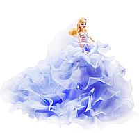 Кукла Невеста в пышном голубом платье на подставке с подсветкой