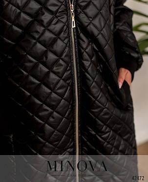 Пальто осень весна размеры от 50 до 62 черный хаки красный стеганое на молнии на синтепоне, фото 2