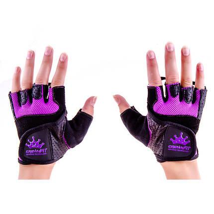 Перчатки атлетические черно-сиреневые CrownFit RX-04, размер S, фото 2