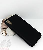 Силиконовый чехол с бархатной подкладкой для iPhone X(XS) черный