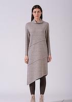 Шерстяное трикотажное платье ассиметричной длины бежевое Lesya Тефия 8