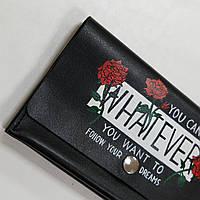 Портмоне Space из натуральной кожи. Женский кожаный кошелек. Шкіряний жіночий гаманець.