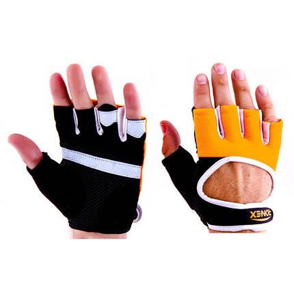 Перчатки атлетические черно-оранжевые Ronex RX-01, размер M, фото 2