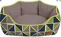 Диван для животного COZY RAY, овальный, серый/зелено-синий, 75x60x20см