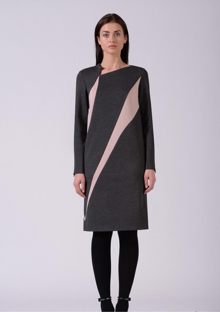 Стильна сукня трикотажне комбіноване сіро-рожеве Lesya Аджин 9