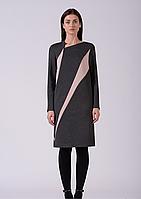 Стильное трикотажное комбинированное платье серо-розовое Lesya Аджин 9