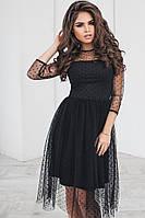 Модное нарядное женское стильное красивое праздничное платье с сеткой горох беби долл с расклешенной юбкой