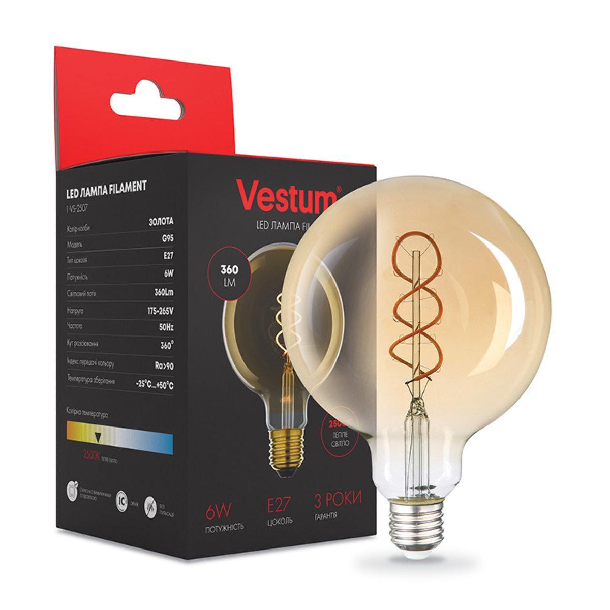 "Лампа LED Vestum филамент ""винтаж"" golden twist G95 Е27 6Вт 220V 2500К"