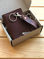 Картхолдер коричневый+брелок кожаный Fresh (права/id-паспотра/тех.паспорта) Hand Made с логотипом Mitsubishi