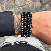 Набор браслетов из черного камня для мужчины