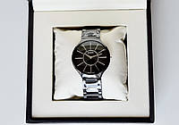 Rado True Thinline Silver Black эксклюзивные сверхтонкие часы унисекс ААА  класса
