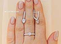 Набор серьги + кольцо серебро 925