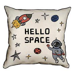 Подушка інтер'єрна з мішковини Hello space 45x45 см (45PHB_UNI005_WH)