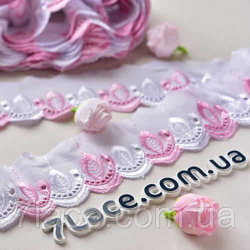 Кружево Прошва / цвет белый+розовый / ширина 6,5 см / моток 9 м