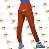 Утепленные терракотовые спортивные с накладными карманами брючки на манжете-резинке трехнитка на флисе, фото 2