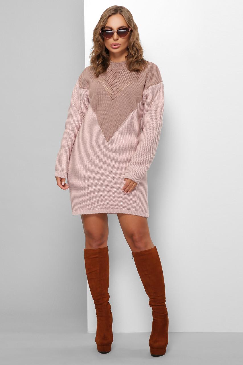 Вязаное платье оверсайз фрез-пудра 46-52 размер универсальный