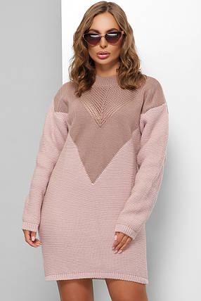 Вязаное платье оверсайз фрез-пудра 46-52 размер универсальный, фото 2