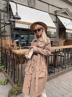 Женское кожаный плащ под пояс ниже колена с накладными карманами (р. 42-46) 5PA304, фото 1