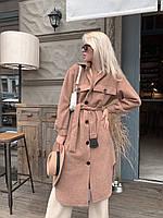 Длинное пальто - рубашка под пояс с асимметрией и накладными карманами в расцветках (р. 42-46) 5PA305, фото 1