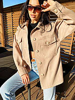 Короткое пальто - рубашка однотонное из кашемира застегивается на пуговицы (р. 42 - 48) 4PA307, фото 1