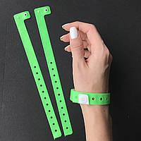 Салатовые контрольные виниловые браслеты на руку с логотипом для посетителей (NeonGreen16mm), фото 1