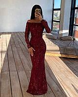 Длинное облегающее платье из сетки с пайетками с открытыми плечами и длинным рукавом 66PL1651Q, фото 1