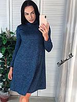 Платье - трапеция длины миди из ангоры и с высоким горлом (р. 42-46) 7PL1654, фото 1