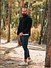Свитер мужской свитшот кофта весенний осенний стильный качественный черный удлиненный