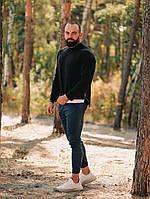 Свитер мужской свитшот кофта весенний осенний стильный качественный черный удлиненный, фото 1